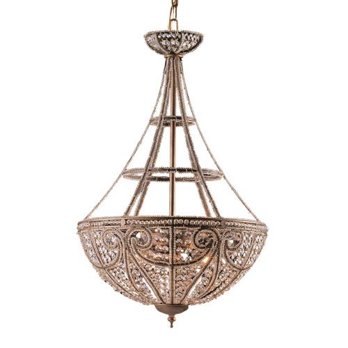 ELK Lighting 5965/4 Elizabethan 4-Light Pendant in Dark Bronze with 32% Lead Crystal