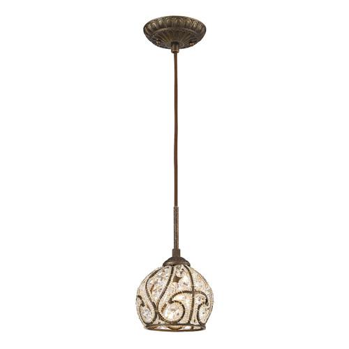 ELK Lighting 15976/1 Elizabethan 1-Light Mini Pendant in Dark Bronze with Crystal