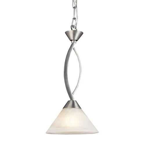 ELK Lighting 7634/1 Elysburg 1-Light Mini Pendant in Satin Nickel with White Swirl Glass