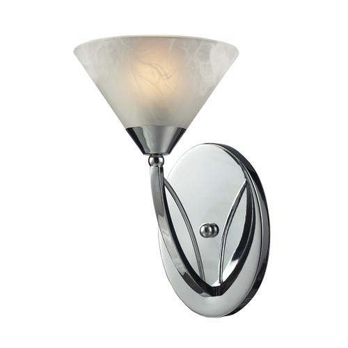 ELK Lighting 17020/1 Elysburg 1-Light Vanity Lamp in Polished Chrome with White Marbleized Glass