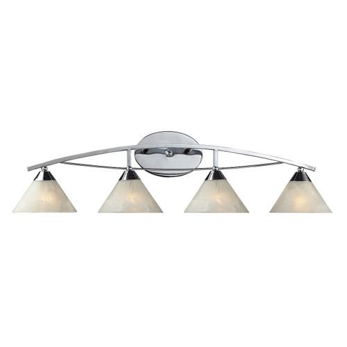 ELK Lighting 17024/4 Elysburg 4-Light Vanity Lamp in Polished Chrome with White Marbleized Glass