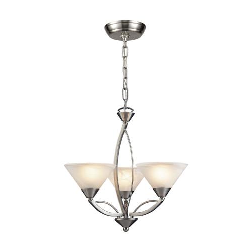 ELK Lighting 7635/3 Elysburg 3-Light Chandelier in Satin Nickel with White Swirl Glass