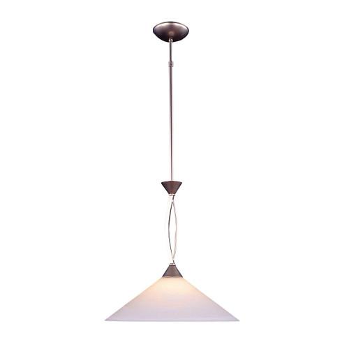 ELK Lighting 6500/1 Elysburg 1-Light Pendant in Satin Nickel with White Swirl Glass