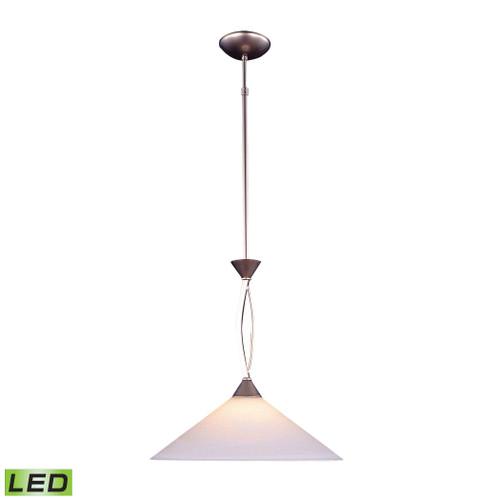 ELK Lighting 6500/1-LED Elysburg 1-Light Pendant in Satin Nickel with White Swirl Glass - Includes LED Bulb