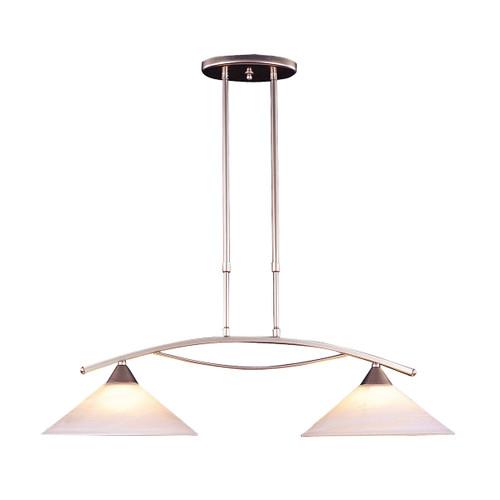 ELK Lighting 6501/2 Elysburg 2-Light Island Light in Satin Nickel with White Swirl Glass