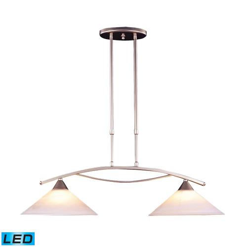 ELK Lighting 6501/2-LED Elysburg 2-Light Island Light in Satin Nickel with White Swirl Glass - Includes LED Bulbs