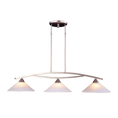 ELK Lighting 6502/3 Elysburg 3-Light Island Light in Satin Nickel with White Swirl Glass