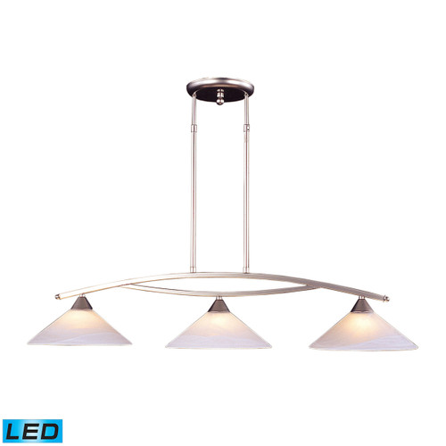 ELK Lighting 6502/3-LED Elysburg 3-Light Island Light in Satin Nickel with White Swirl Glass - Includes LED Bulbs