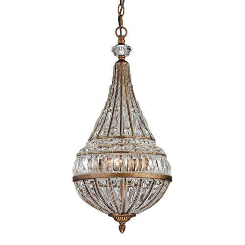 ELK Lighting 46046/3 Empire 3-Light Mini Pendant in Mocha with Crystal and Glass Beads