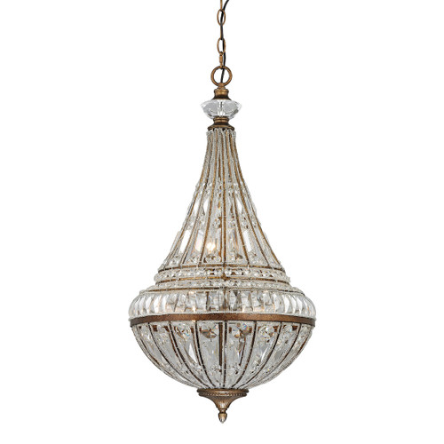 ELK Lighting 46047/6 Empire 6-Light Chandelier in Mocha with Crystal and Glass Beads
