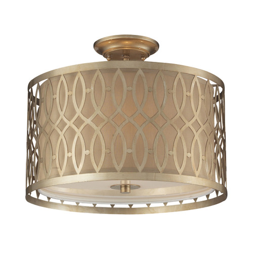 ELK Lighting 31122/3 Estonia 3-Light Semi Flush in Aged Silver with Metal and Beige Fabric Shade