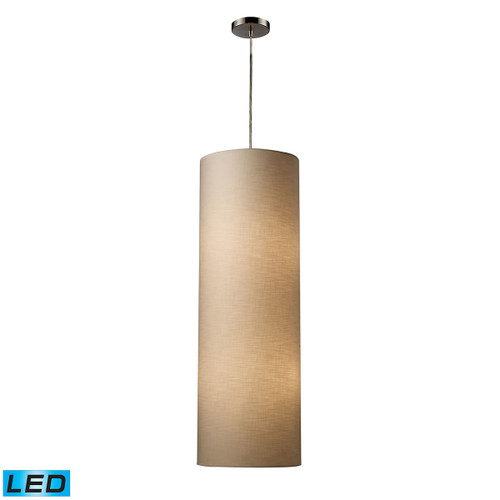 ELK Lighting 20160/4-LED Fabric Cylinders 4-Light Mini Pendant in Satin Nickel with 1 Shade - Includes LED Bulbs
