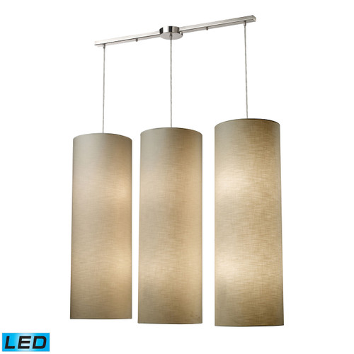 ELK Lighting 20160/12L-LED Fabric Cylinders 12-Light Linear Pendant Fixture in Satin Nickel with 3 Shades - Includes LED Bulbs