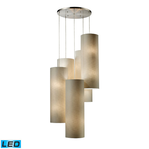 ELK Lighting 20160/20R-LED Fabric Cylinders 20-Light Chandelier in Satin Nickel with 5 Shades - Includes LED Bulbs