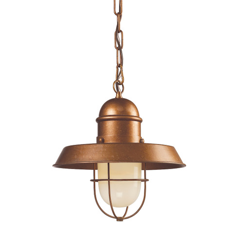 ELK Lighting 65049-1 Farmhouse 1-Light Mini Pendant in Bellwether Copper with Matching Shade