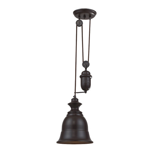 ELK Lighting 65070-1 Farmhouse 1-Light Adjustable Pendant in Oiled Bronze with Matching Shade