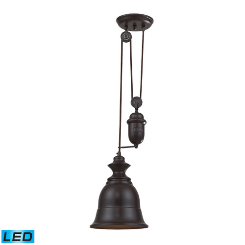 ELK Lighting 65070-1-LED Farmhouse 1-Light Adjustable Pendant in Oiled Bronze with Matching Shade - Includes LED Bulb
