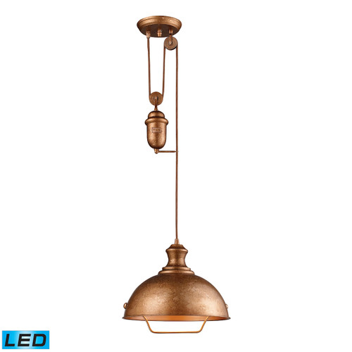 ELK Lighting 65061-1-LED Farmhouse 1-Light Adjustable Pendant in Bellwether Copper with Matching Shade - Includes LED Bulb