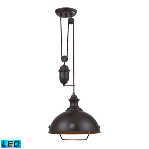 ELK Lighting 65071-1-LED Farmhouse 1-Light Adjustable Pendant in Oiled Bronze with Matching Shade - Includes LED Bulb