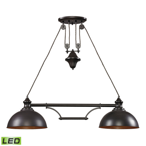 ELK Lighting 65150-2-LED Farmhouse 2-Light Island Light in Oiled Bronze with Matching Shade - Includes LED Bulbs