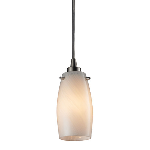 ELK Lighting 10223/1COC Favelita 1-Light Mini Pendant in Satin Nickel with Hand-blown Coconut Glass