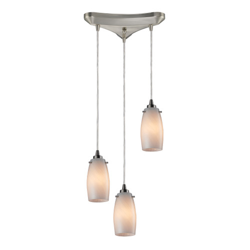 ELK Lighting 10223/3COC Favelita 3-Light Triangular Pendant Fixture in Satin Nickel with Off-white Swirl Glass