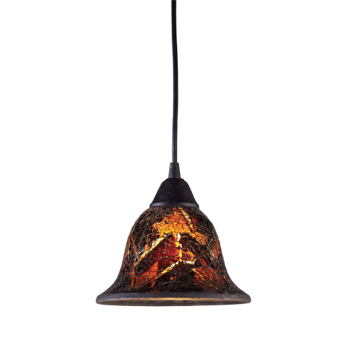 ELK Lighting 10144/1FS Firestorm 1-Light Mini Pendant in Dark Rust with Firestorm Glass