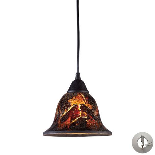 ELK Lighting 10144/1FS-LA Firestorm 1-Light Mini Pendant in Dark Rust with Firestorm Glass - Includes Adapter Kit