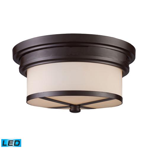 ELK Lighting 15025/2-LED Flushmounts 2-Light Flush Mount in Oiled Bronze with Off-white Glass - Includes LED Bulbs