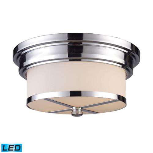 ELK Lighting 15015/2-LED Flushmounts 2-Light Flush Mount in Polished Chrome with White Glass - Includes LED Bulbs
