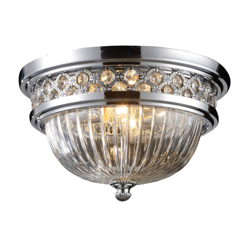 ELK Lighting 11225/2 Flushmounts 2-Light Flush Mount in Polished Chrome with Glass and Crystal