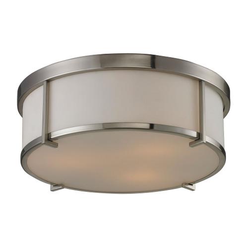 ELK Lighting 11465/3 Bryant 3-Light Flush Mount in Brushed Nickel with Opal White Glass