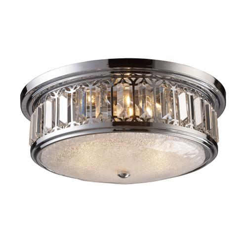 ELK Lighting 11227/3 Flushmounts 3-Light Flush Mount in Polished Chrome with Glass and Crystal