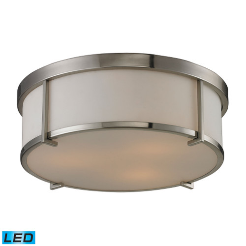 ELK Lighting 11465/3-LED Flushmounts 3-Light Flush Mount in Brushed Nickel with Opal White Glass - Includes LED Bulbs