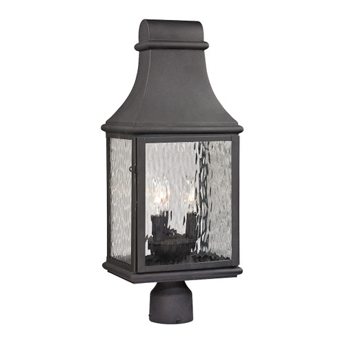 ELK Lighting 47075/3 Forged Jefferson 3-Light Outdoor Post Mount in Charcoal