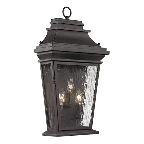 ELK Lighting 47053/3 Forged Provincial 3-Light Outdoor Wall Lamp in Charcoal