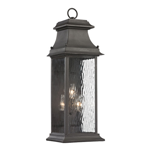 ELK Lighting 47051/3 Forged Provincial 3-Light Outdoor Wall Lamp in Charcoal