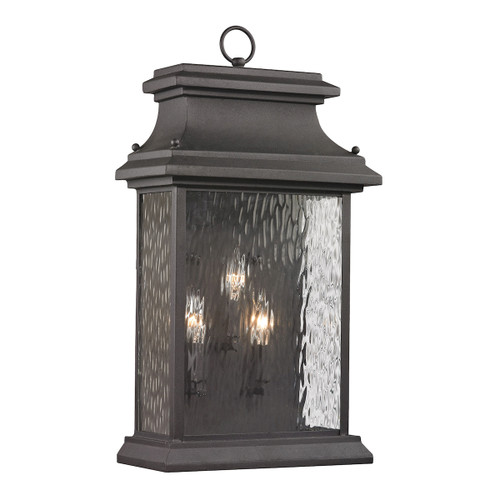 ELK Lighting 47054/3 Forged Provincial 3-Light Outdoor Wall Lamp in Charcoal