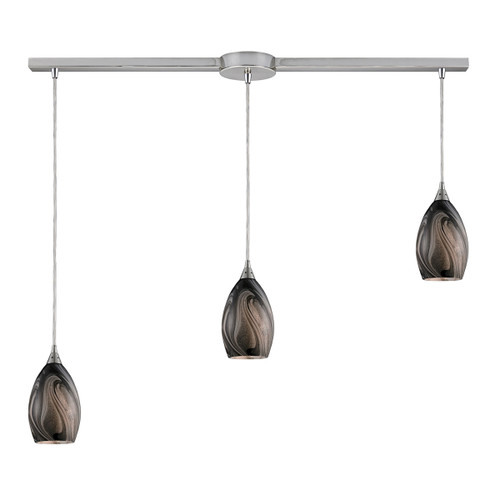 ELK Lighting 31133/3L-ASH Formations 3-Light Linear Pendant Fixture in Satin Nickel with Ashflow Glass