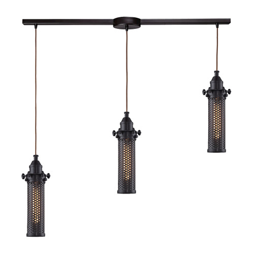 ELK Lighting 66325/3L Fulton 3-Light Linear Pendant Fixture in Oil Rubbed Bronze with Perforated Metal Shade