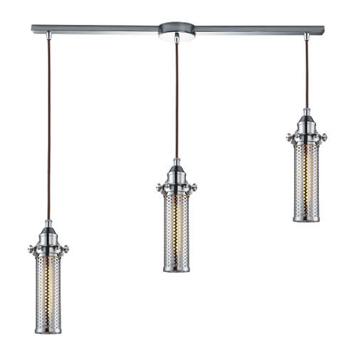 ELK Lighting 66315/3L Fulton 3-Light Linear Pendant Fixture in Polished Chrome with Perforated Metal Shade