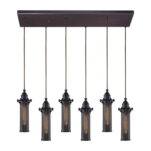 ELK Lighting 66325/6RC Fulton 6-Light Rectangular Pendant Fixture in Oil Rubbed Bronze with Perforated Metal Shade