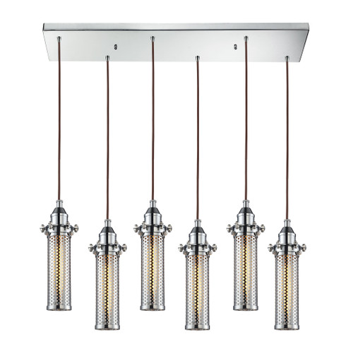 ELK Lighting 66315/6RC Fulton 6-Light Rectangular Pendant Fixture in Polished Chrome with Perforated Metal Shade