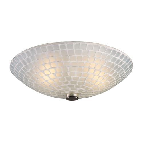 ELK Lighting 10139/2WHT Fusion 2-Light Semi Flush in Satin Nickel with White Mosaic Glass