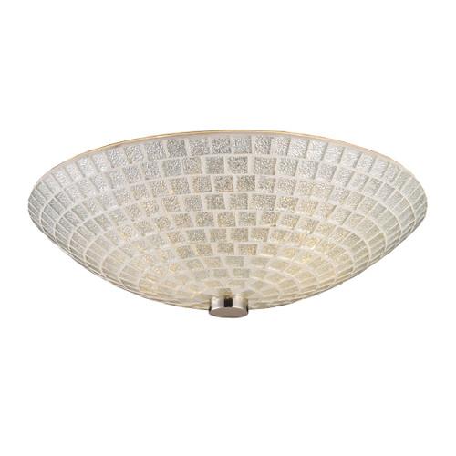 ELK Lighting 10139/2SLV Fusion 2-Light Semi Flush in Satin Nickel with Silver Mosaic Glass