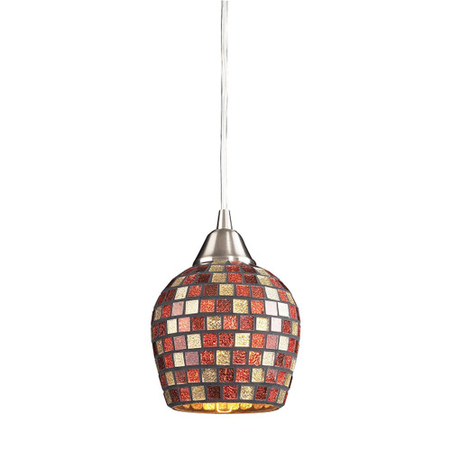 ELK Lighting 528-1MLT Fusion 1-Light Mini Pendant in Satin Nickel with Multi-colored Mosaic Glass