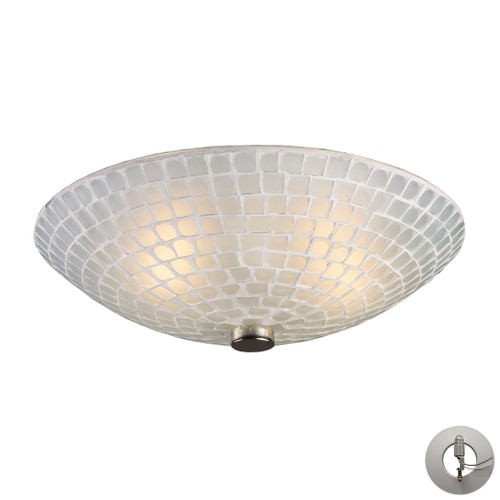 ELK Lighting 10139/2WHT-LA Fusion 2-Light Semi Flush in Satin Nickel with White Mosaic Glass - Includes Adapter Kit