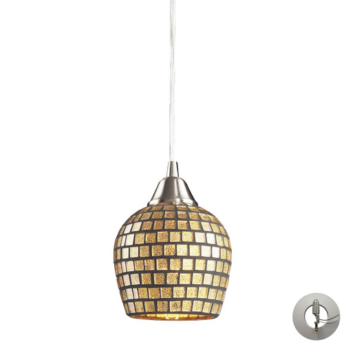 ELK Lighting 528-1GLD-LA Fusion 1-Light Mini Pendant in Satin Nickel with Gold Leaf Mosaic Glass - Includes Adapter Kit