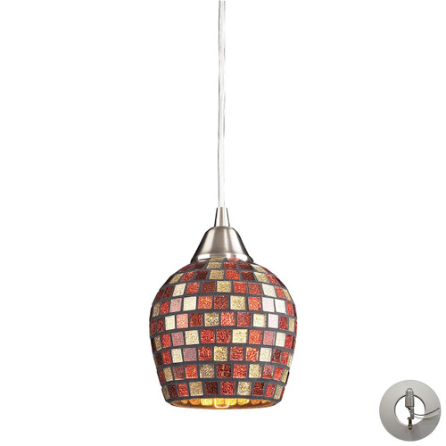 ELK Lighting 528-1MLT-LA Fusion 1-Light Mini Pendant in Satin Nickel with Multi-colored Mosaic Glass - Includes Adapter Kit