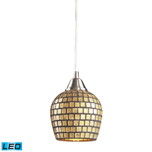 ELK Lighting 528-1GLD-LED Fusion 1-Light Mini Pendant in Satin Nickel with Gold Leaf Mosaic Glass - Includes LED Bulb
